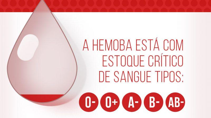 Hemoba convoca doadores de sangue dos tipos Rh negativo e O positivo
