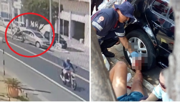 Acidente entre moto e carro deixa jovem ferido na BA-210 na entrada da Prainha