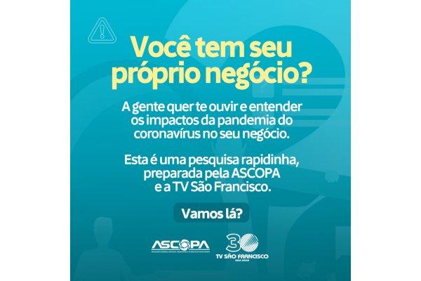 ASCOPA e TV São Francisco lançam pesquisa para comerciantes e empresários locais