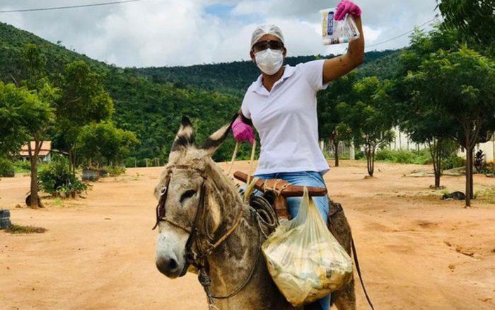 No enfrentamento ao coronavírus, enfermeira vai de jegue atender comunidades da Zona Rural