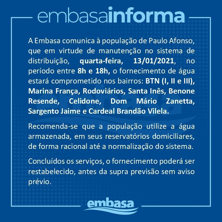 EMBASA INFORMA SUSPENSÃO TEMPORÁRIA DO FORNECIMENTO DE AGUA NO BTN E ADJACENCIAS