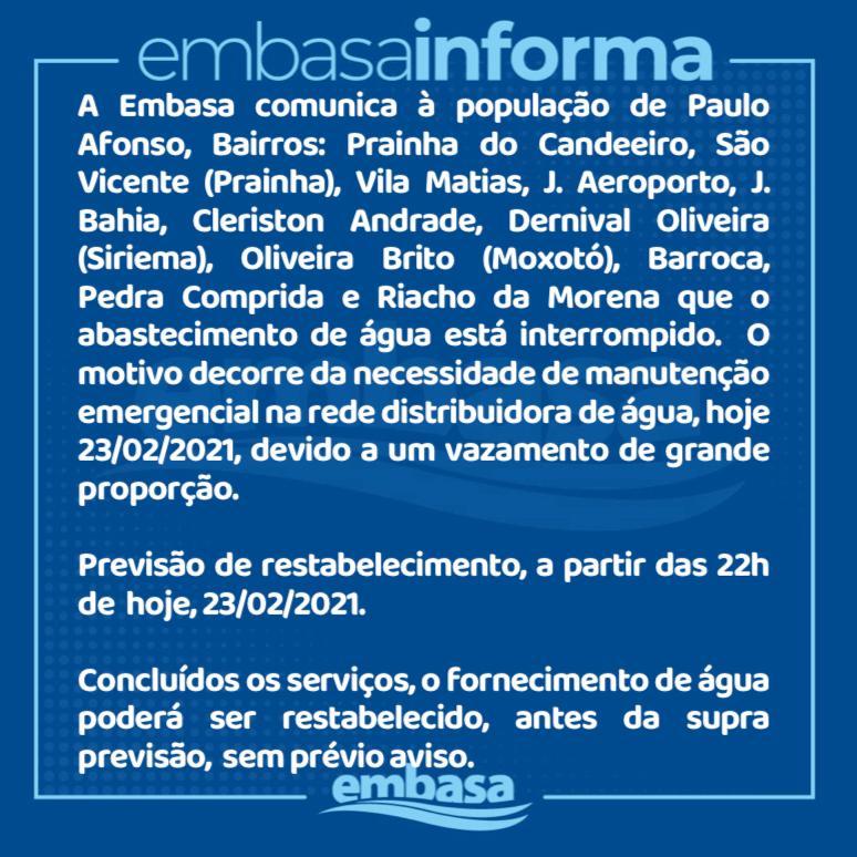 EMBASA informa manutenção na rede de distribuição em bairros e povoados da cidade