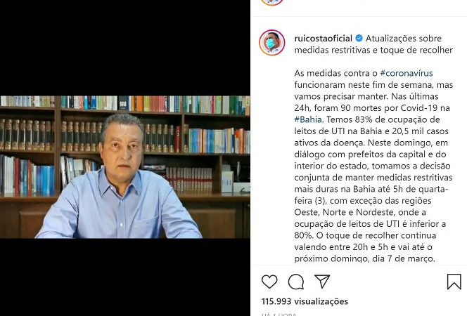 Vídeo – Rui prorroga por mais 48 horas o lockdown na Bahia
